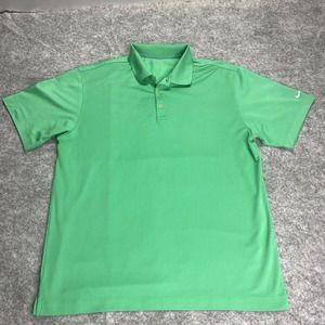Nike Golf Dri Fit Mens Polo Shirt Large Green Short Sleeve 3 Button